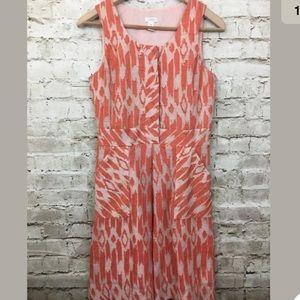 J CREW Carolina Ikat Orange Ivory Dress